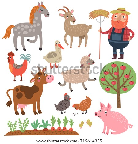 Farm. Set of vector characters. Farm animals.