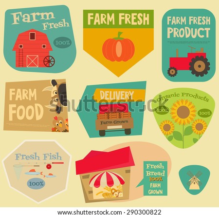 Farm Stickers Set in Flat and Retro style. Collection labels of Advertising Farm Fresh Products. Farm Machines and Items. Layered file. Vector illustration. - stock vector