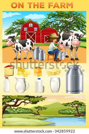 Farm theme with farmer and dairy products illustration - stock vector