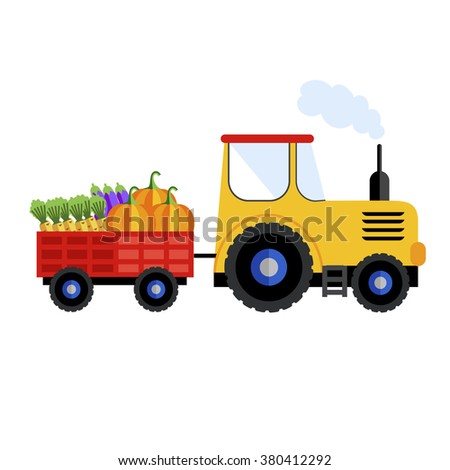 Farm tractor. Tractor on white background with harvest. Farm tractor icon. Farm equipment. Farm transport. Farm tractor isolated. Farm tractor sign. Farm truck. Vector tractor on white background. - stock vector