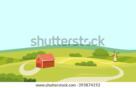 Farm Vector Flat Illustration. Field And House. Agriculture And Fresh  Natural Food Concept.