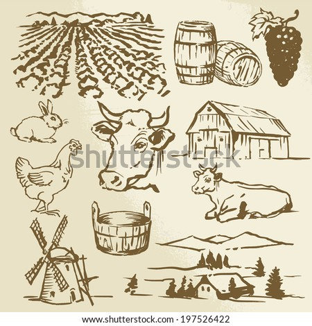 farm, vineyard, agriculture - hand drawn collection - stock vector