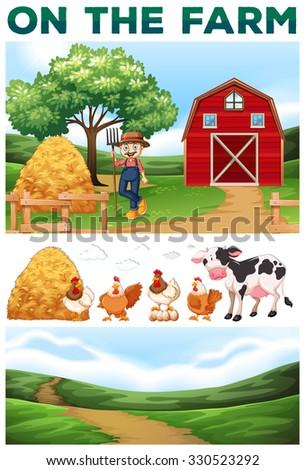 Farmer and animals on the farm illustration - stock vector