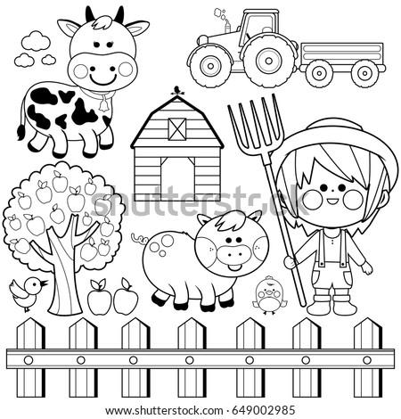 Farmer Boy Set With Child Farm Animals Cow Pig Chicken Tree