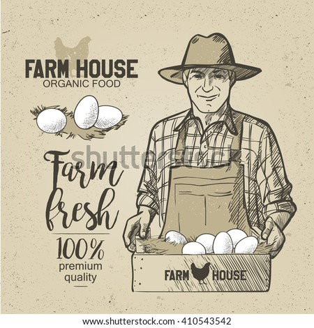 Farmer holding a box of food. Organic food. Eggs. Natural Products. - stock vector