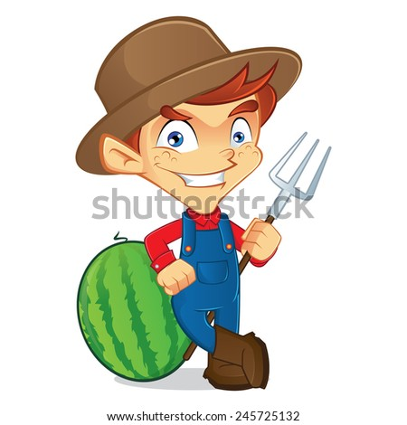 farmer holding pitchfork  - stock vector