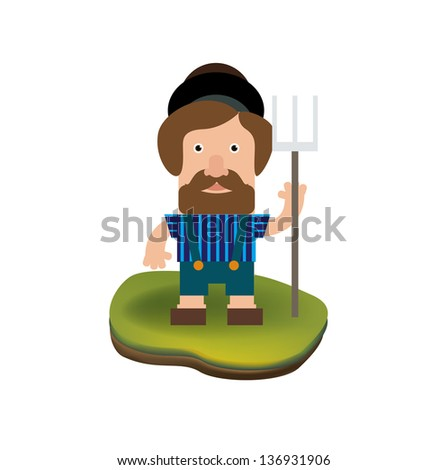 farmer man isolated on white background - stock vector