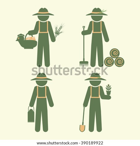 Farmer man with tool, set vector illustration - stock vector