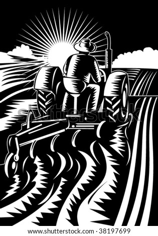 Farmer on tractor plowing field - stock vector