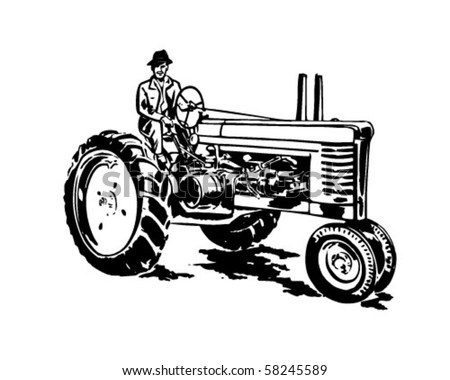 Farmer On Tractor - Retro Clip Art - stock vector