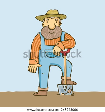 farmer with a beard and a shovel. vector