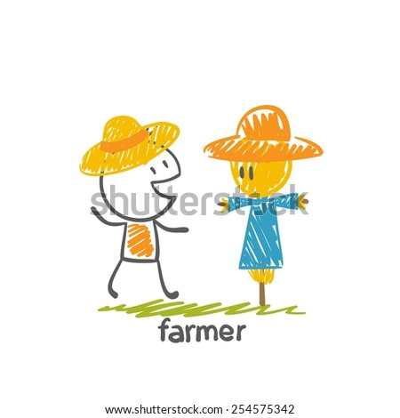 farmer with a scarecrow straw illustration - stock vector