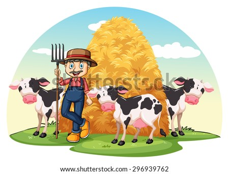 Farmer with cows standing with a hay - stock vector