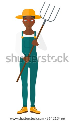 Farmer with pitchfork. - stock vector