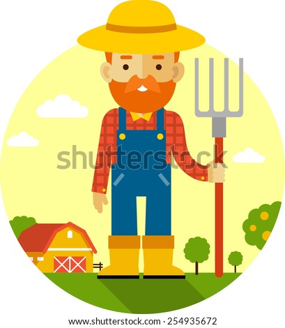 Farmer with pitchfork on farm garden background - stock vector