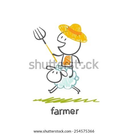 farmer with sheep illustration - stock vector