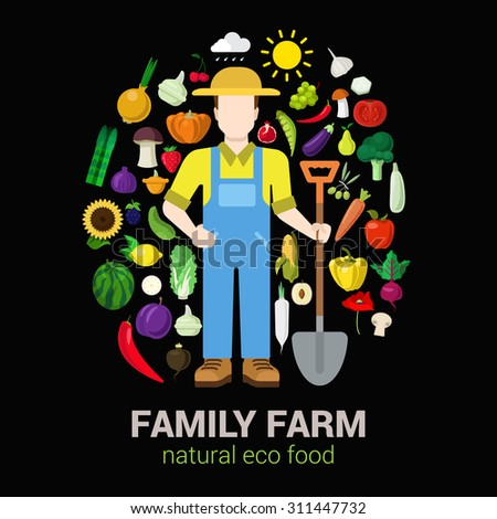 Farmer with shovel and harvest products icons. Stylish quality detail icon set farm fruit vegetable berry mushroom plants. Agriculture concept. Food farming collection. - stock vector