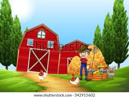 Farmer working in the farm outside illustration - stock vector