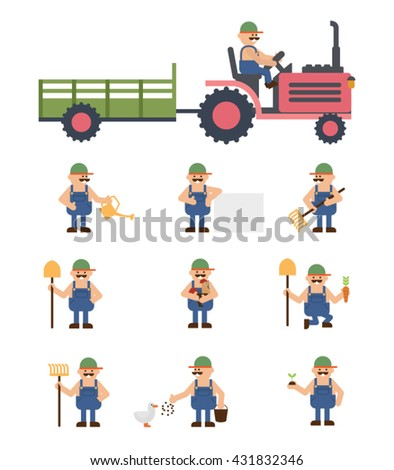 Farmers and gardeners agriculture icons set isolated vector illustration. - stock vector