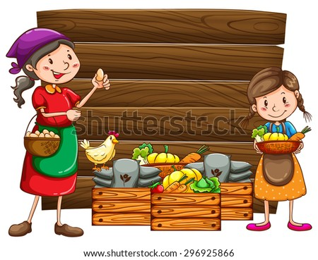 Farmers and vegetables in the wooden box - stock vector