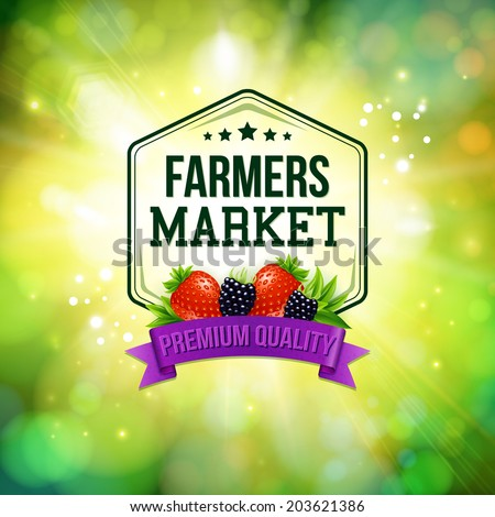 Farmers market poster. Blurred background with shining sun. Typography design. Vector illustration. - stock vector