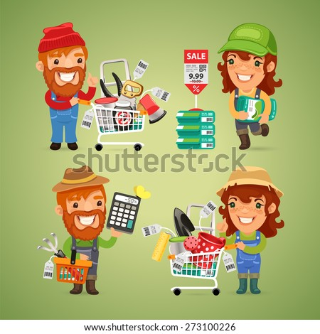 Farmers Purchases Equipment for Gardening. In the EPS file, each element is grouped separately. - stock vector