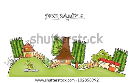 "farmhouse on the hills ""Happy world"" collection - stock vector"