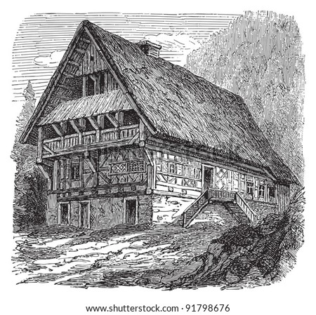 Farmhouse Schwarzwald (Black Forest) / illustration from Meyers Konversations-Lexikon 1897 - stock vector