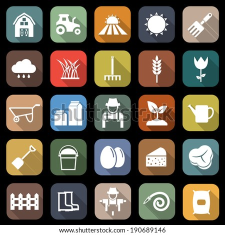 Farming flat icons with long shadow, stock vector - stock vector