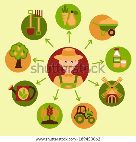 Farming harvesting and agriculture food icons set with farmer vector illustration - stock vector