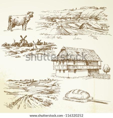 farming, rural landscape - stock vector
