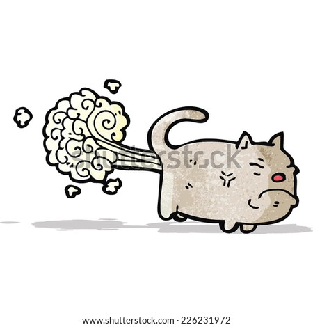 farting cat cartoon - stock vector