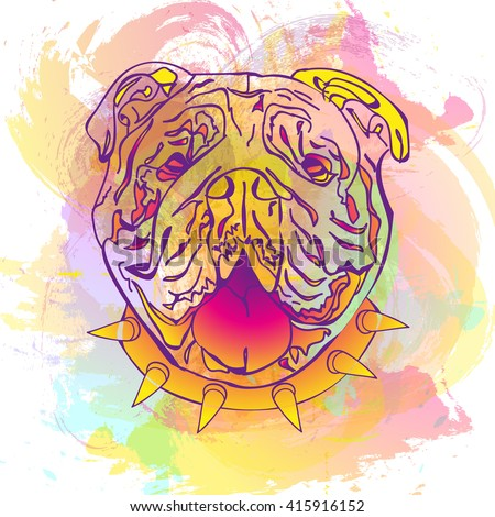 Fashion abstract colorful watercolor vector background with English bulldog. Fashion dog - stock vector