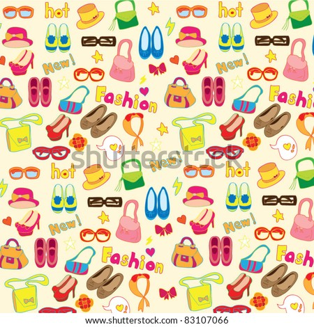 fashion accessories seamless background - stock vector