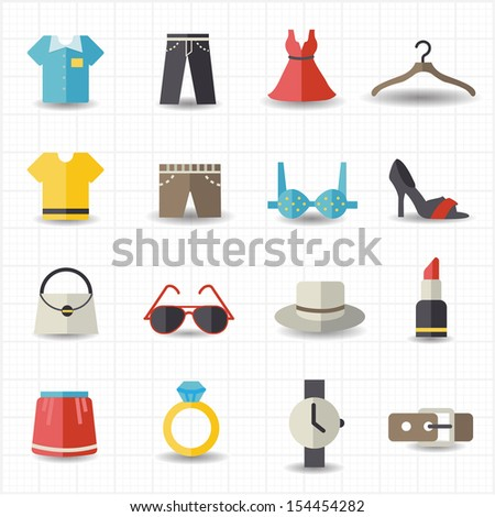 Fashion and clothes icons - stock vector