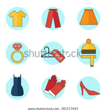 Fashion and clothes icons set, line style  - stock vector