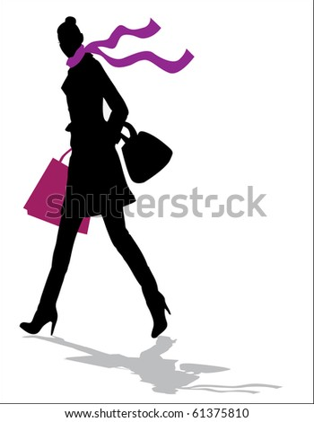 Fashion and Shopping girl in autumn - stock vector