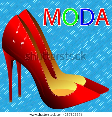 Fashion and style. Elegant red high-heeled shoes - stock vector
