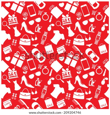 Fashion and women accessories background, pattern - stock vector