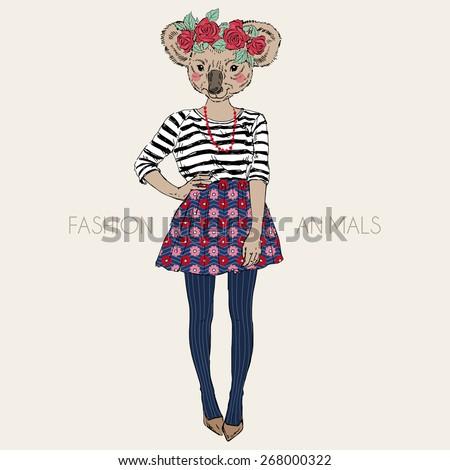 fashion animal illustration, cute koala hipster girl, character design - stock vector