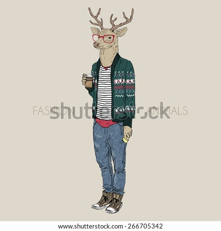 fashion animal illustration, deer hipster drinking coffee, character design - stock vector