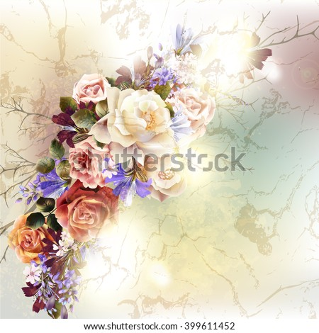 Fashion antique background with rose flowers in retro style - stock vector