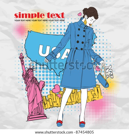 Fashion autumnal girl in a coat in sketch-style on a usa-background. Vector illustration. Place for your text. - stock vector