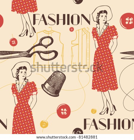 fashion background with scissors, buttons and woman - stock vector