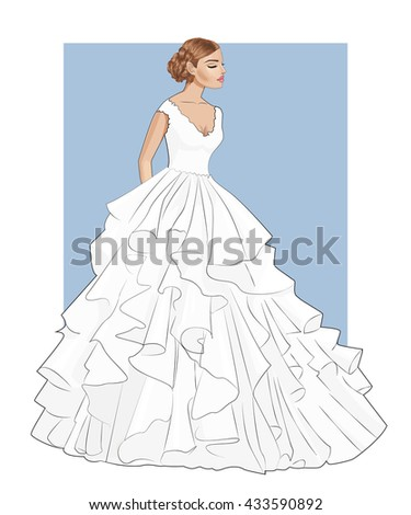 Fashion beautiful  brunette bride with closed eyes in stylish wedding dress,vector - stock vector