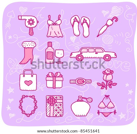 fashion,beauty accessory icon set