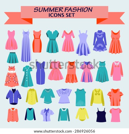 Fashion boutique  for design woman shirts and dresses colorful  for you design. - stock vector