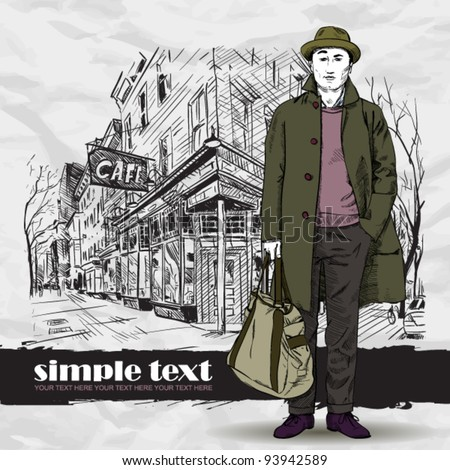 Fashion boy in sketch-style on a street-cafe-background. Vector illustration. - stock vector
