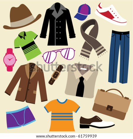 fashion clothes and accessories - stock vector