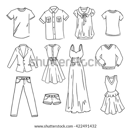 Fashion clothes hand drawn vector set - stock vector